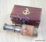 classical.gift.export 4.5'' VINTAGE STYLE BRASS TELESCOPE BLACK FINISH ANTIQUE SPYGLASS WOODEN BOX