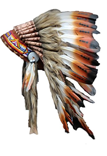 [Three Colors Brown Chief Indian Feather Headdress /Native American Warbonnet] (Male Indian Chief Costume)