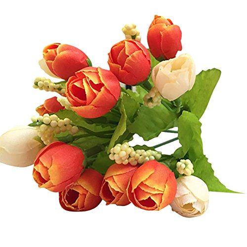 Clearance Sale!DEESEE(TM)15 Heads Unusual Artificial Rose Silk Fake Flower Leaf Home Decor Bridal Bouquet (Orange)