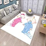 Gender Reveal Bath Mats for Floors Cheerful Boy and Girl Children with Bunny Pacifiers Twins Door Mat Indoors Bathroom Mats Non Slip Pale Blue and Pink Peach