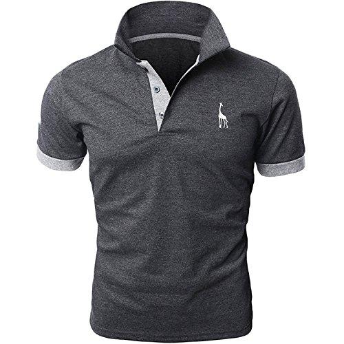 ポロシャツ ゴルフ 半袖ポロシャツ メンズ 吸汗速乾 ポロシャツ 男性用 クールビズ グレー M