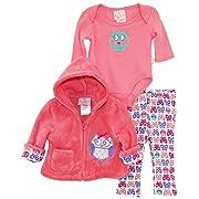 Duck Goose Baby Girls Owl Sherpa Hooded Jacket Bodysuit 3Pc Leggings Set, Knockout Pink, 0-3 Months