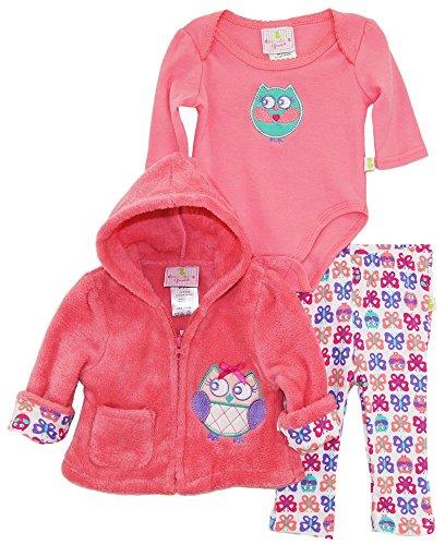 duck-goose-baby-girls-owl-sherpa-hooded-jacket-bodysuit-3pc-leggings-set-knockout-pink-0-3-months