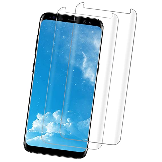 sale retailer 63c1c bc219 [2PACK] Galaxy S8 Clear Screen Protector,[Case Friendly][Anti-Fingerprint]  Tempered Glass Screen Protector Compatible with Samsung Galaxy S8