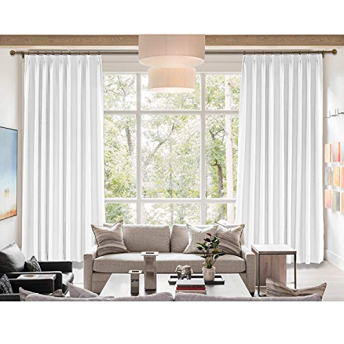 (cololeaf Breathable and Airy Natural Linen and Poly Mixed Curtains,Pinch Pleated Drapery Panel with Blackout Lining for Bedroom Club Theater Patio Door,Snow White 52W x 96L Inch (1 Panel))