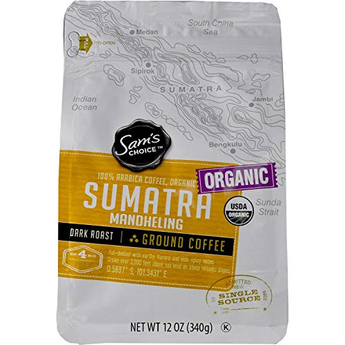 Sam's Choice Organic Sumatra Mandheling Ground Coffee Dark Roast 12 Oz (Organic Sumatra Mandheling) ()