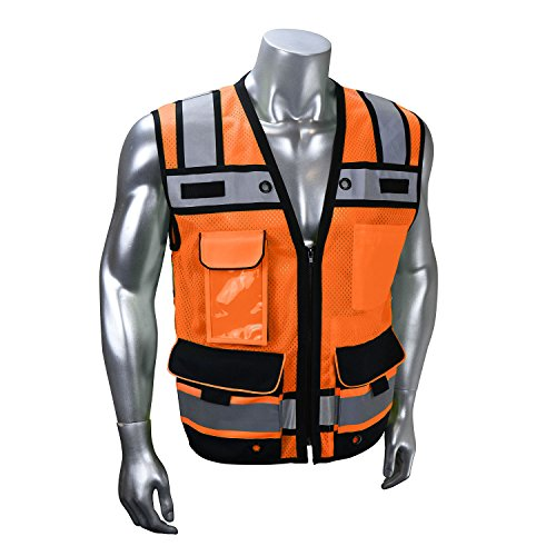 Radians SV65-2ZOM-S Surveyors Safety Vest, Hi-Viz Orange, Small
