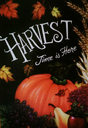 "Thanksgiving Garden Flag - ""Harvest Time Is Here"" Autumn Pum"