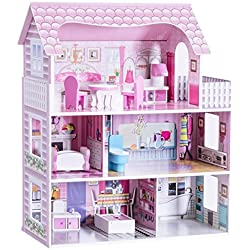 "Costzon 28"" Dollhouse 3 Levels House with 5 Rooms and Furniture, Pink"