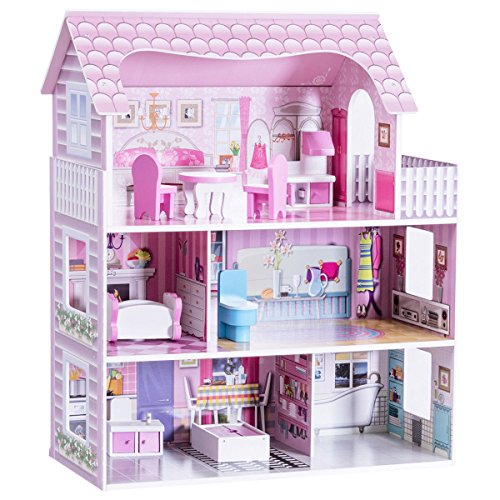 """Costzon 28"""" Dollhouse 3 Levels House with 5 Rooms And Furniture, Pink"""