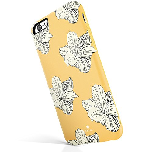 iPhone 6/6s case for girls, Akna Get-It-Now Collection High Impact Flexible Silicon Case for both iPhone 6 & iPhone 6s [Retro Yellow Floral](216-U.S) (Yellow Floral Pattern)