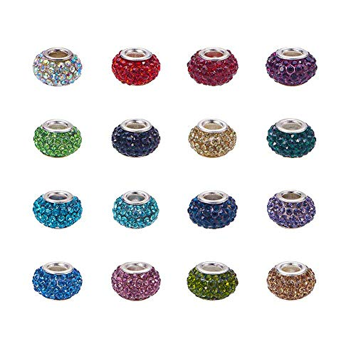 Pandahall 50pcs Rhinestone Glass European Beads Polymer Clay Large Hole Slide Crystal Charms with Silver Tone Brass Cores Mixed Color 15x10mm Spacer Beads Fit European Bracelet Snake Chain