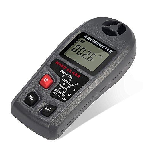 LCD Digital Windmesser Anemometer Windmessgerät Windgeschwindigkeit Test Temperatur Messgerät Temperaturerfassung zum Windsurfen, Segeln, Angeln, Bergsteigen , Drachenfliegen , Schießen, Modell Flugzeug fliegen und andere Outdoor-Aktivitäten