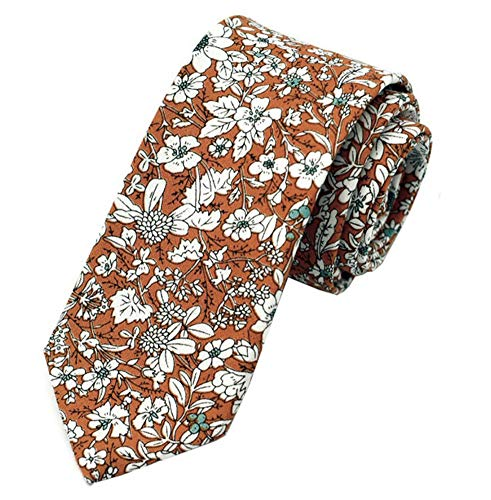 Secdtie Men's Skinny Tie Fashion Causal Cotton Floral Printed Linen Necktie MK04
