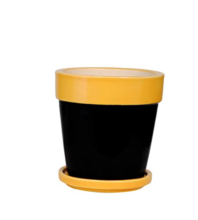 Keramik's Decorative Ceramic Plant Pot/Flower Pot/Planter with Coaster (Dimensions: H: 10.75 cm & Dia: 10.75 cm) (Black & Yellow)