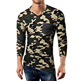 Pervobs Long Sleeve Shirts, Big Promotion! Men's Autumn Casual Camouflage Long Sleeve Sports V-Neck T-Shirt Top Blouse (M, Army Green)