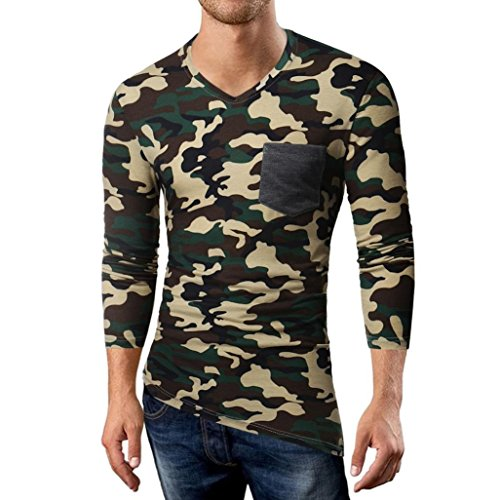 Pervobs Long Sleeve Shirts, Big Promotion! Men's Autumn Casual Camouflage Long Sleeve Sports V-Neck T-Shirt Top Blouse (M, Army Green) by Pervobs Mens Long Sleeve Shirts