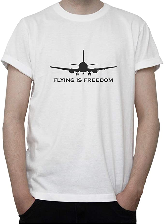 Imagen deDreamGirl Flying Is Freedom. Plane Stencil Graphic Mens T-Shirt
