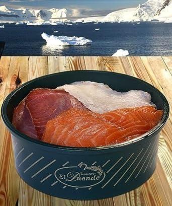 Tarrina ensalada de ahumados de 1 kg. (Salmón, bacalao y atún) El duende