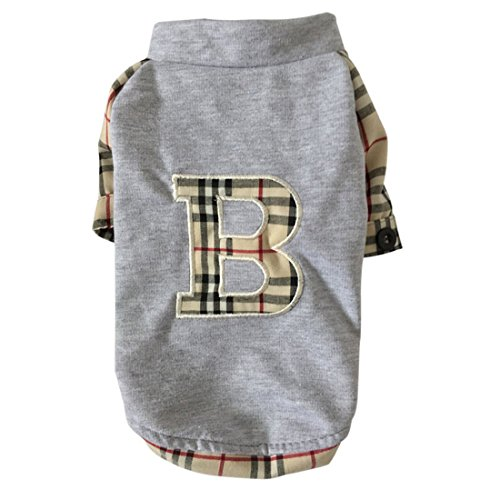 [Pet dog plaid shirt dress cotton pet puppy skirt clothes apperal (M, Gray)] (Halloween Jasmine Costume)