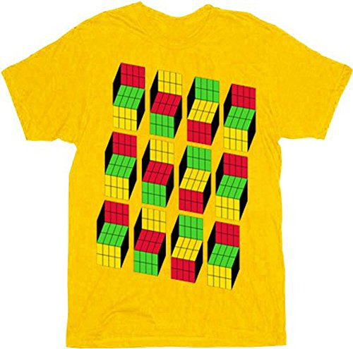 The Big Bang Theory Sheldon Cooper Opti Blocks Adult Mustard T-Shirt (Adult XX-Large)