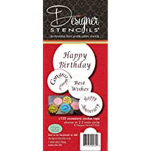 """Designer Stencils C135 Special Occasions Candy and Cookie Stencils, Beige/Semi-Transparent, fits 2"""" circle"""