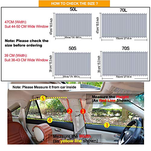 Gray, 50S Fochutech Car Side Window Sun Shade Car Privacy Curtain Baby Sun Shade 2PCS UV Protection Car Blackout Curtains