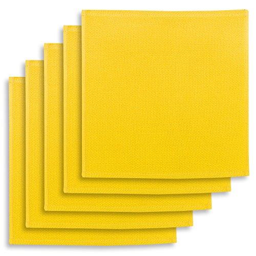 5er-Set Geschirrtuch, Spültuch, Multifunktion Baumwolle gelb, KRACHT, Edition ziczac-affaires, ca.30x30cm