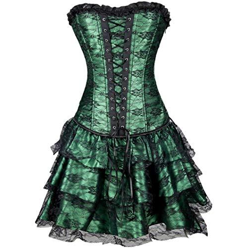 Women's Steampunk Bustier Corset Victorian Brocade Overbust Corset with Lace Trim Skirt Green