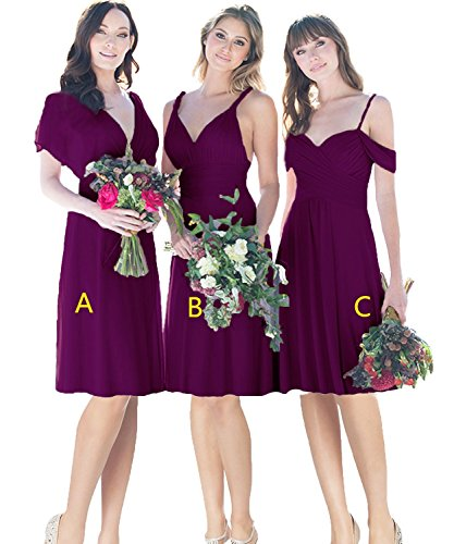 JQLD A Line Chiffon Short Bridesmaid Dress Knee Length Homecoming Dress for Graduation Girls Plum-B US20W ()