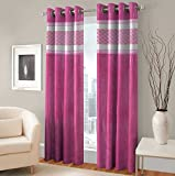 Exporthub Solid Fabric Fancy Designer Pink Color Eyelet Long Door Curtains (2 Piece) - 4 x 9 Feet, EHSPR525_94