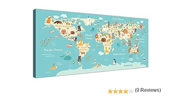Animal mapa del mundo Atlas lienzo para habitación infantil ...