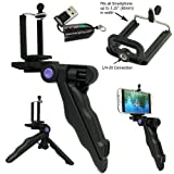ChargerCity Pistol Grip Stabilizer Tripod Handle Mount w/Holder for Apple iphone X 8 7 Plus Samsung Galaxy S7 S8 S9 Note Smartphone (Max opening of 3.25'') w/Free Micro SD Memory Card Reader
