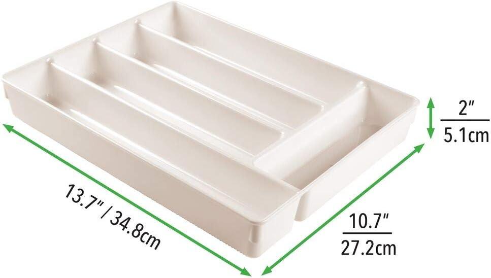 Gris Claro Pr/áctica Cesta organizadora para la Cocina Separadores de cajones Antideslizantes con 5 Compartimentos para Utensilios de Cocina mDesign Cubertero para caj/ón de pl/ástico