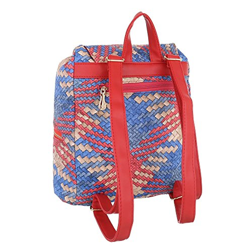 iTal-dEsiGn Damentasche Mittelgroße Rucksack Schultertasche Kunstleder TA-9893 Rot Multi