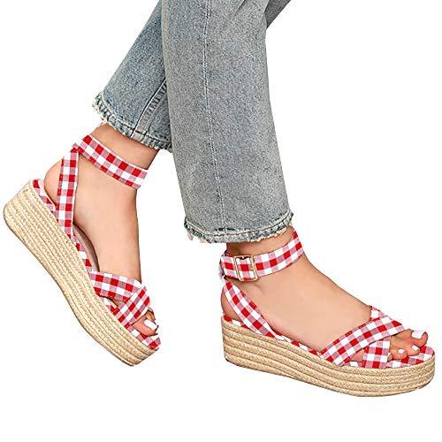 Syktkmx Womens Strappy Flatform Espadrille Sandals Summer Slingback Platform Ankle Strap Sandals D-red - Gingham Platforms