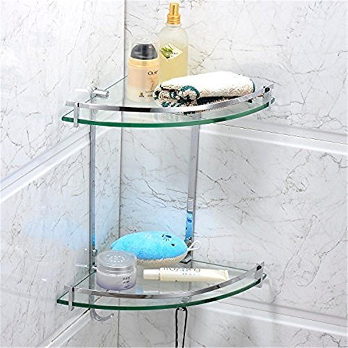 (Leyden TM Solid Brass Wall Mounted Glass Double Corner Shelf with Hooks - Oval Series)