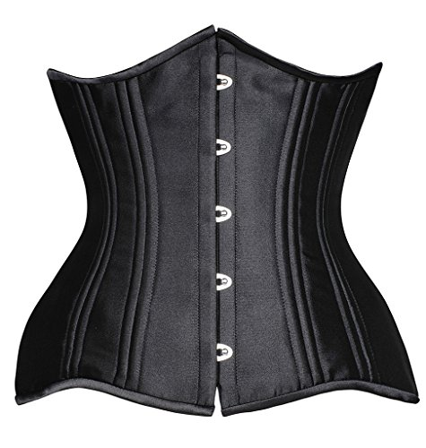 Camellias Women's 24 Double Steel Boned Longline Waist Trainer Corset Heavy Duty Waist Training Shaper Waist Slimmer for Weight Loss Satin Black, SZ1971-2-Black-3XL