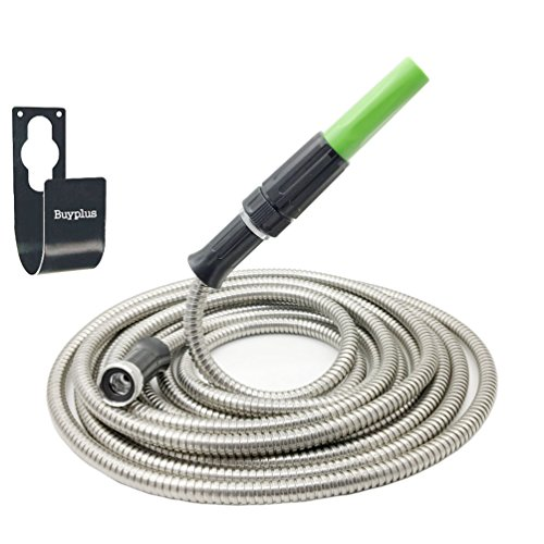Buyplus Metal Garden Hose Stainless Steel - Lightweight, Kink-Free and Stronger Than Ever with Metal Hook, Nozzle, Easy to Use (50 FT) by Buyplus