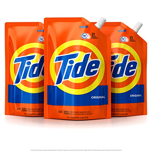 Tide Smart Pouch Original Scent HE Turbo Clean Liquid Laundry Detergent, Pack of 3, 48 oz. pouches, 93 loads