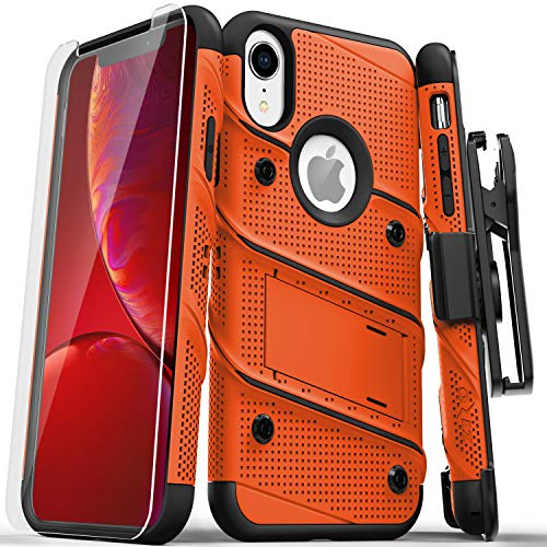 Zizo Bolt Series Compatible with iPhone XR Case Military Grade Drop Tested with Tempered Glass Screen Protector Holster and Kickstand Orange Black