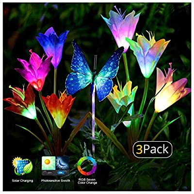 Solar Garden Lights (3pack) Outdoor Solar Lights Flower Garden Lights LED Color Changing Solar Powered Stake Decoration for Garden, Patio, Backyard 3pack(2 Lilly Flowers and 1 Butterfly)