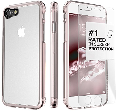 - iPhone 8 and 7 Case, SaharaCase Clear Protective Kit Bundled with [ZeroDamage Tempered Glass Screen Protector] Rugged Slim Fit Shockproof Bumper [Hard PC Back] Protection – Rose Gold