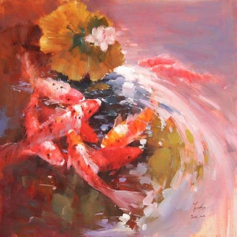 Perfect Effect Canvas ,the High Definition Art Decorative Prints On Canvas Of Oil Painting 'Red Carps In Lotus Pond', 16x16 Inch / 41x41 Cm Is Best For Basement Decor And (Razor Blades In Apples For Halloween)