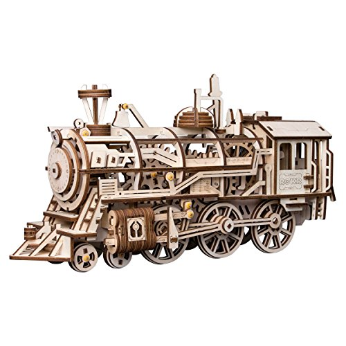 (ROBOTIME 3D Assembly Wooden Puzzle Laser-Cut Locomotive Kit Mechanical Gears Toy Brain Teaser Games Best Birthday Gifts for Engineer Husband & Boyfriend & Teen Boys & Adults)