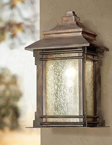 Hickory Point Rustic Farmhouse Outdoor Wall Light Fixture Walnut Bronze 16 1/2