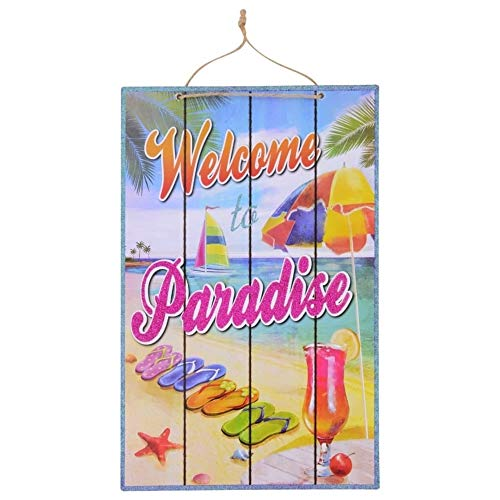 S&C Coastal Welcome to Paradise Bar Sign for Tropical Beach Hawaiian Luau Party Supplies | Wooden Plaque Beachy Decorations for Kitchen or Outdoor Patio Decor