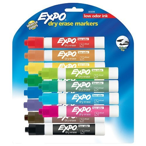 EXPO Original Dry Erase Set, Chisel Tip, Assorted Colors, 6-Piece, 2-sets
