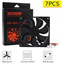 High Speed Extreme Airflow 120mm Case Fan, Big 4 Pin Connector for Mining Rig Case Open Air Frame - 2 Ball Bearing & Quiet Edition Fans(Blacke, 7 Piece)
