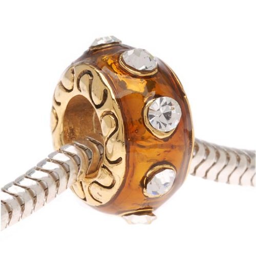 Beadaholique Topaz Enamel Bead Adorned with Swarovski Element Crystals, Fits Pandora, 22K Gold Plated